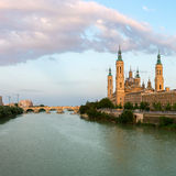 Zaragoza Basilica Spain Panorama Royalty Free Stock Photo