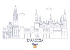 Zaragoza City Skyline, Spain. Zaragoza Linear City Skyline, Spain Royalty Free Stock Photography