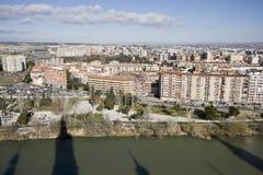 Zaragoza dalla torretta di segnalatore acustico pilar di EL Immagini Stock