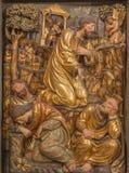 ZARAGOZA HISZPANIA, MARZEC, - 3, 2018: Polychome rzeźbiąca renaissance ulga modlitwa Jesu w Gethsemane ogródzie zdjęcia royalty free