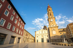 Zaragoza Kathedraal Stock Foto's
