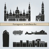 Zaragoza landmarks and monuments. On blue background in editable vector file Royalty Free Stock Images