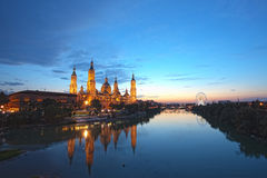 Zaragoza in night Stock Photography