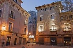 Zaragoza at night. Square San Felipe at night. Zaragoza. Spain Royalty Free Stock Photos