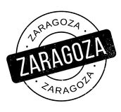 Zaragoza rubber stamp. Grunge design with dust scratches. Effects can be easily removed for a clean, crisp look. Color is easily changed Stock Photo