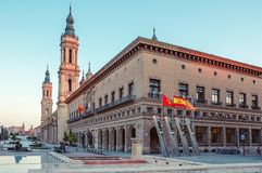 Zaragoza Saragossa Hiszpania cityscape Plac Del Pilar w stolicie Aragon zdjęcia royalty free
