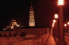 Zaragoza Saragossa, Hiszpania Noc widok bazylika filar obrazy royalty free