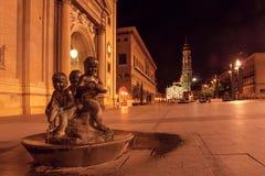 Zaragoza Saragossa Hiszpania podobieństwo tła instalacji krajobrazu nocy zdjęcia stołu piękna użycia Plac Del Pilar w stolicie Ar obrazy stock