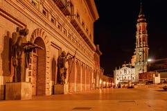 Zaragoza Saragossa Hiszpania podobieństwo tła instalacji krajobrazu nocy zdjęcia stołu piękna użycia Plac Del Pilar w stolicie Ar fotografia royalty free
