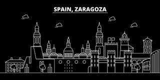 Zaragoza silhouette skyline. Spain - Zaragoza vector city, spanish linear architecture, buildings. Zaragoza travel. Zaragoza silhouette skyline. Spain - Zaragoza Royalty Free Stock Images