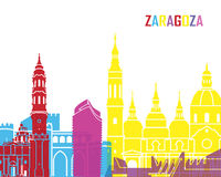 Zaragoza skyline pop. In editable vector file Stock Photography