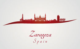 Zaragoza skyline in red. And gray background in editable vector file Stock Photo