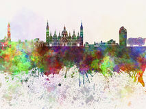 Zaragoza skyline in watercolor. Background Stock Photos