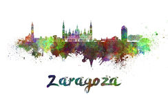 Zaragoza skyline in watercolor. Splatters with clipping path Stock Images