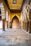 ZARAGOZA, SPAIN - JUNE 8, 2014 Arabic arches at Aljaferia Palace. Stock Photos