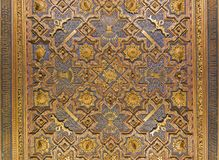 ZARAGOZA, SPAIN - MARCH 2, 2018: The carved ceiling in mudejar La Aljaferia palace.  royalty free stock photo