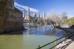 ZARAGOZA, SPAIN - MARCH 3, 2018: The cathedral  Basilica del Pilar Stock Image