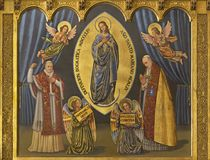 ZARAGOZA, SPAIN, 2018: The painting of Immaculate conception and pope Pius X and Pius XII in church Iglesia del Perpetuo Socorro. ZARAGOZA, SPAIN - MARCH 1, 2018 royalty free stock photo
