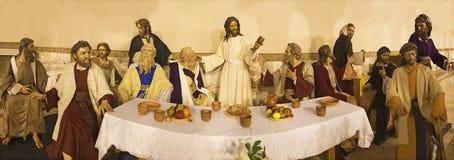 ZARAGOZA, SPAIN, 2018:  The sculptural group of Last Supper in church Iglesia del Perpetuo Socorro by José Antonio Navarro. ZARAGOZA, SPAIN - MARCH 1, 2018 Royalty Free Stock Images
