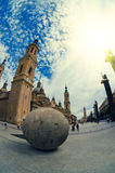 Zaragoza, Spain - September 14, 2015: Zaragoza historical center, fisheye lens view. Our Lady of the Pillar Basilica. Stock Image