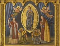 ZARAGOZA, SPANJE, 2018: Het schilderen van Vlekkeloze conceptie en paus Pius X en Pius XII in kerk Iglesia del Perpetuo Socorro royalty-vrije stock foto