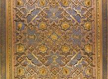ZARAGOZA, SPANJE - MAART 2, 2018: Het gesneden plafond in mudejar paleis van La Aljaferia royalty-vrije stock foto