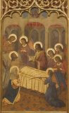 ZARAGOZA, SPANJE - MAART 1, 2018: Het neogotische schilderen van Dood van St Joseph in kerk Iglesia del Sagrado Corazon de Jesus Royalty-vrije Stock Foto