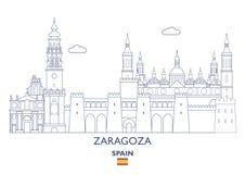 Zaragoza Stadshorizon, Spanje Royalty-vrije Stock Fotografie