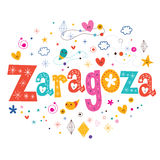 Zaragoza text typography lettering design. Zaragoza text typography decorative type lettering design Stock Images