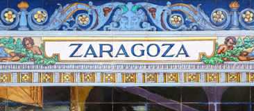 Zaragoza written on azulejos Stock Photography