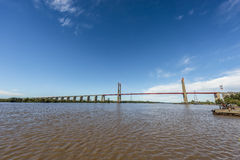 Zarate Brazo Largo Bridge, Entre Rios, Argentina. The Zarate Brazo Largo Bridges are two cable-stayed road and railway bridges in Argentina, crossing the Parana Royalty Free Stock Photography