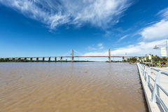 Zarate Brazo Largo Bridge, Entre Rios, Argentina. The Zarate Brazo Largo Bridges are two cable-stayed road and railway bridges in Argentina, crossing the Parana Stock Photography