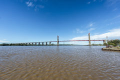 Zarate Brazo Largo Bridge, Entre Rios, Argentina. The Zarate Brazo Largo Bridges are two cable-stayed road and railway bridges in Argentina, crossing the Parana Royalty Free Stock Photos
