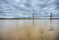 Zarate Brazo Largo Bridge, Entre Rios, Argentina. The Zarate Brazo Largo Bridges are two cable-stayed road and railway bridges in Argentina, crossing the Parana Stock Images