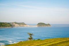 Zarautz,巴斯克地区,西班牙海岸的秋天Landsape  免版税库存图片
