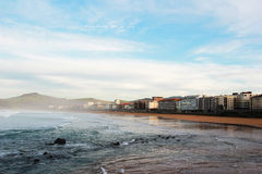 Zarautz beach. In basque country, spain Stock Image