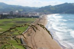 Zarautz picture taken from the camping place `talaimendi` stock photography