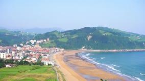 Zarauz, Pais Vasco, Spain. Coast of Zarauz city at sunny summer day, Pais Vasco, Spain stock video footage