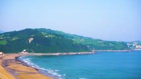 Zarauz, Pais Vasco, Spain. Coast of Zarauz at sunny summer day, Pais Vasco, Spain stock video footage