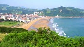 Zarauz, Pais Vasco, Spain. Landscape of Zarauz and Cantabrian sea at sunny summer day, Pais Vasco, Spain stock video footage