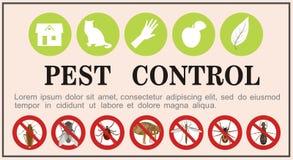 Zarazy kontrola insektów płaskie ikony na sztandarze również zwrócić corel ilustracji wektora royalty ilustracja