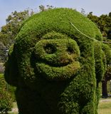 Zarcero park in Alajuela, Costa Rica. Famous zarcero park in Costa Rica, and tourist place to visit in this wonderful country, happy face in a tree sculpture stock photo