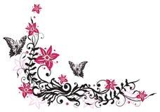 Zarcillo floral, flores, mariposas Imagenes de archivo