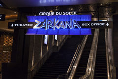 Zarkana在唱腔在拉斯维加斯, 2的8月06日, NV的票房标志 免版税库存图片