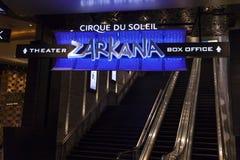 Zarkana-Kassen-Zeichen an der Arie in Las Vegas, Nanovolt am 6. August, 2 lizenzfreies stockbild