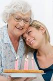 Zarte Großmutter und Enkel Stockbild