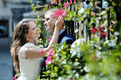 Zarte Liebkosung der Braut und des Bräutigams des glücklichen Paars im Hochzeitstag lizenzfreie stockfotos
