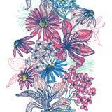 Zarte Retro- nahtlose mit Blumengrenze Lizenzfreie Stockfotos