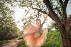 Zarte und romantische Tänzerfrau in der grünen Landschaft bei Sonnenuntergang Stockbilder