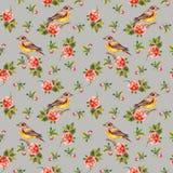 Zarter grauer Blumenhintergrund mit Rosen und Vögeln Vektor Abbildung